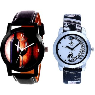Wine Design With Black More Couple Analogue Wrist Watch By SCK