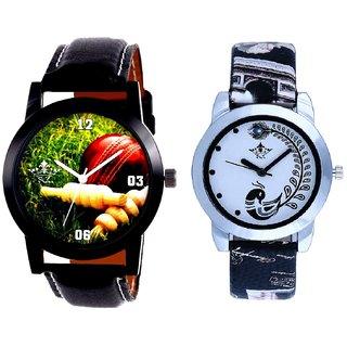 Black Leather Strap With Black More Couple Analogue Wrist Watch By SCK