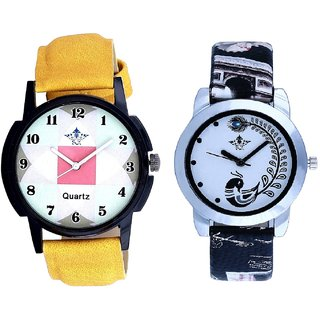 Yellow Strap Square Design With Black More Couple Analogue Wrist Watch By SCK