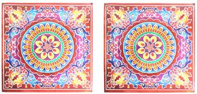 Rangoli Stickers Square 2 pcs. (23.5 cm x 23.5 cm) - Assorted Designs