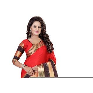 Ozon Designer Fab Red Cotton Silk Saree with blouse