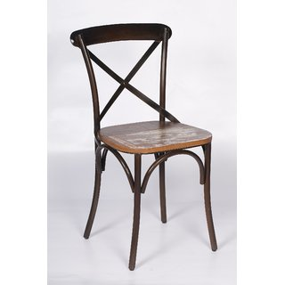NAHTA Wooden Seat Iron Body Chair IN BLACK Color