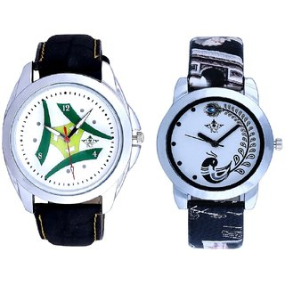 Latest Green-White Fancy Dial And Black Peacock Couple Analogue Watch By Gujarat Hub
