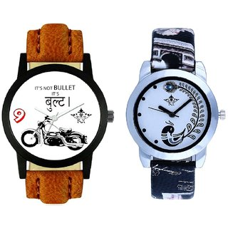 Bullet Round Dial And Black Peacock Couple Analogue Watch By Gujarat Hub