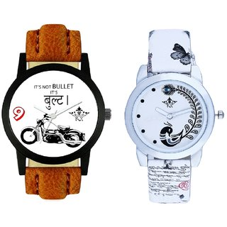 Bullet Round Dial And White Peacock Couple Analogue Watch By Gujarat Hub
