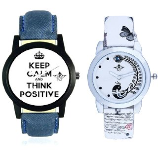 Men Power Of Positive Thinking And White Peacock Couple Analogue Watch By Gujarat Hub