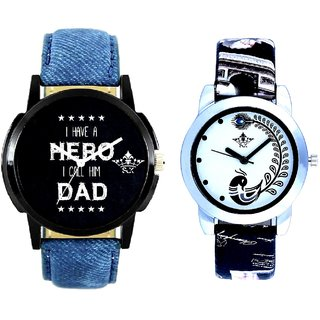 Super Dad Dial And Black Peacock Couple Analogue Watch By Gujarat Hub