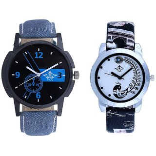 Luxury Blue And Black Peacock Couple Analogue Watch By Gujarat Hub