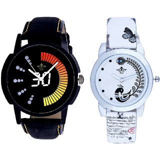 Round Dial Black Yellow And White Peacock Couple Analogue Watch By Gujarat Hub
