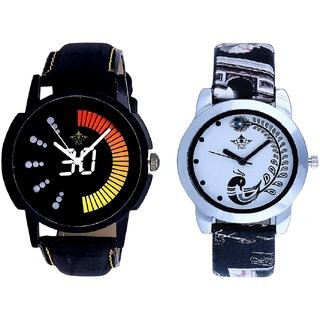 Round Dial Black Yellow And Black Peacock Couple Analogue Watch By Gujarat Hub