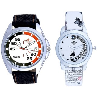 Round Dial 3 Multi Colour And White Peacock Couple Analogue Watch By Gujarat Hub