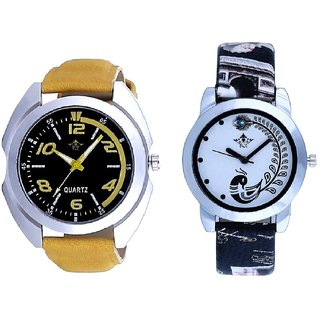 Fancy Yellow leather Strap And Black Peacock Couple Analogue Watch By Gujarat Hub