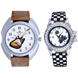 Fancy Violin And Black-White Flowers Couple Analogue Watch By Gujarat Hub