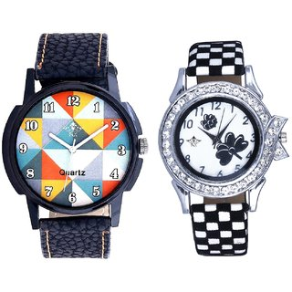 Hexa Multicolor And Black-White Flowers Couple Analogue Watch By Gujarat Hub