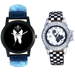 Officially Men And Black-White Flowers Couple Analogue Watch By Gujarat Hub