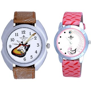 Fancy Violin And Pink Peacock Couple Analogue Watch By Gujarat Hub