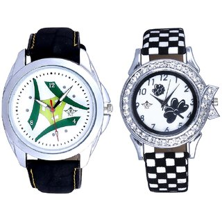 Latest Green-White Fancy Dial And Black-White Flowers Couple Analogue Watch By Gujarat Hub