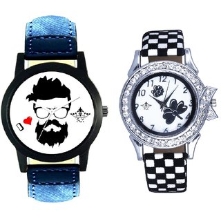 I Love Handosam And Black-White Flowers Couple Analogue Watch By Gujarat Hub