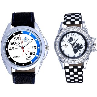 Addition Blue Black And Black-White Flowers Couple Analogue Watch By Gujarat Hub