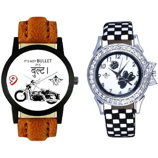 Bullet Round Dial And Black-White Flowers Couple Analogue Watch By Gujarat Hub