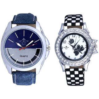Latest Smile Dial And Black-White Flowers Couple Analogue Watch By Gujarat Hub
