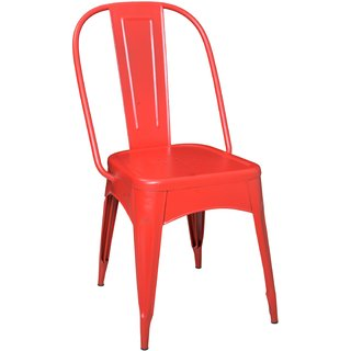 Nahta Industrial Dinning Chair In Red