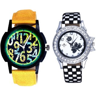 Colouring Exclusive Digits And Black-White Flowers Couple Analogue Watch By Gujarat Hub