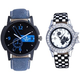 Luxury Blue And Black-White Flowers Couple Analogue Watch By Gujarat Hub
