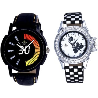 Round Dial Black Yellow And Black-White Flowers Couple Analogue Watch By Gujarat Hub