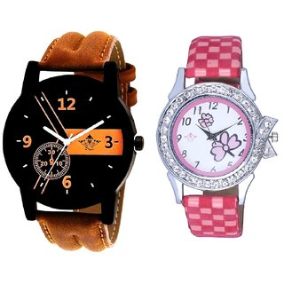 Brown Leather Strap And Pink Flowers Couple Analogue Watch By Gujarat Hub