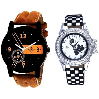 Brown Leather Strap And Black-White Flowers Couple Analogue Watch By Gujarat Hub