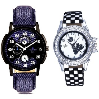 Special 3D Look And Black-White Flowers Couple Analogue Watch By Gujarat Hub