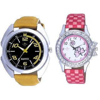 Fancy Yellow leather Strap And Pink Flowers Couple Analogue Watch By Gujarat Hub