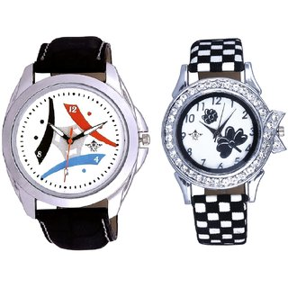 Elegant Design 3 Fan And Black-White Flowers Couple Analogue Watch By Gujarat Hub