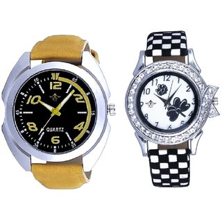 Fancy Yellow leather Strap And Black-White Flowers Couple Analogue Watch By Gujarat Hub