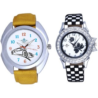 Audi Car And Black-White Flowers Couple Analogue Watch By Gujarat Hub