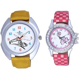 Audi Car And Pink Flowers Couple Analogue Watch By Gujarat Hub