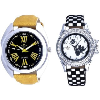 Sports Romen Digits And Black-White Flowers Couple Analogue Watch By Gujarat Hub