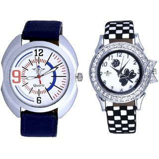 Exclusive Blue Sport Leather Strap And Black-White Flowers Couple Analogue Watch By Gujarat Hub