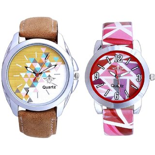 White-Brown Dial With Pink Sep Couple Analogue Wrist Watch By Gujarat Hub