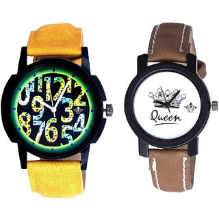 Colouring Exclusive Digits And Queen Dial Couple Analogue Watch By Gujarat Hub