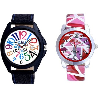 Colour Digits With Pink Sep Couple Analogue Wrist Watch By Gujarat Hub