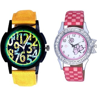 Colouring Exclusive Digits And Pink Flowers Couple Analogue Watch By Gujarat Hub