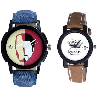 Tony Stark Fancy Dial And Queen Dial Couple Analogue Watch By Gujarat Hub