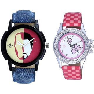 Tony Stark Fancy Dial And Pink Flowers Couple Analogue Watch By Gujarat Hub
