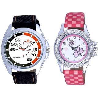 Round Dial 3 Multi Colour And Pink Flowers Couple Analogue Watch By Gujarat Hub