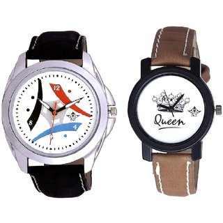 Elegant Design 3 Fan And Queen Dial Couple Analogue Watch By Gujarat Hub