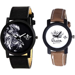 Lion And Queen Dial Couple Analogue Watch By Gujarat Hub