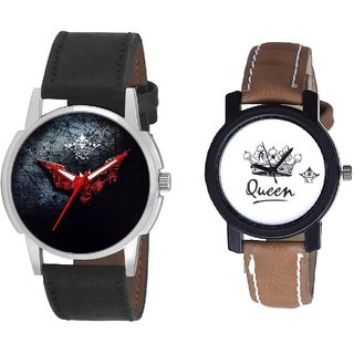 Red Flying Bat And Queen Dial Couple Analogue Watch By Gujarat Hub
