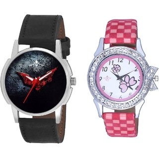 Red Flying Bat And Pink Flowers Couple Analogue Watch By Gujarat Hub